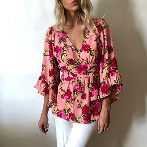 {Betsey Johnson} rose ruffle blouse